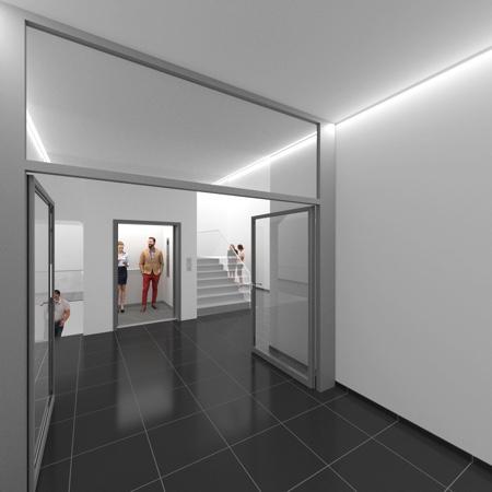 Architekturbüro Arlt, Viersen, Vision  Flur mit Aufzug